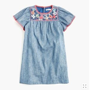 Girls' embroidered dress in railroad stripe
